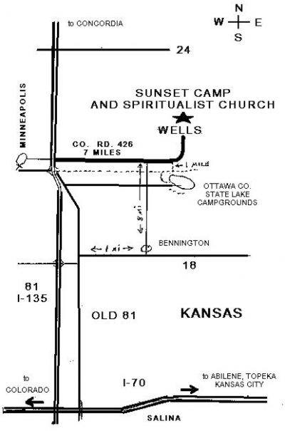 Map to Sunset Spiritualist Church & Camp, Well Kansas
